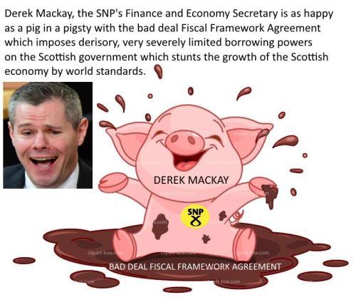 Satirises Derek Makay, happy as a pig in a pigsty